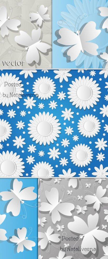 Цветы и бабочки в Векторе / Flowers and Butterflies in Vector