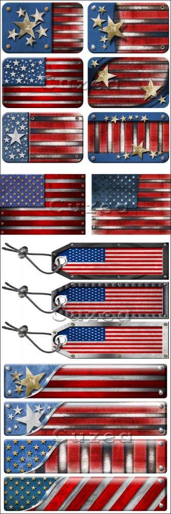 Гранжевые фоны флага США/ USA Grunge Metal Flag - Stock photo