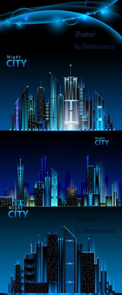 Ночной город в Векторе / Night city in Vector