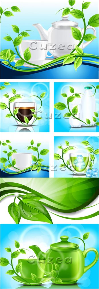 Кофейник, чашки и зеленые листья в векторе/ Green leaves and cup in vector
