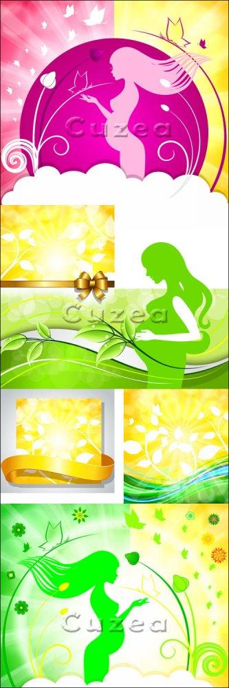 Силуэт беременной женщины на красивых векторных фонах/ Pregnant woman on ni ...