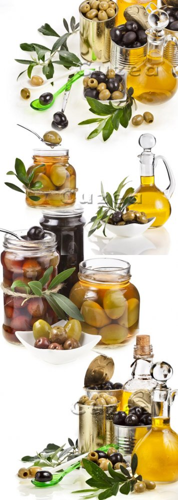 Оливкое масло и оливки/ Oil and olives on a white background - stock photo