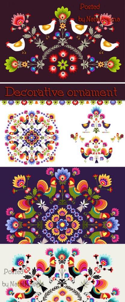 Декоративный орнамент с цветами в Векторе / Decorative ornament Flowers #2  ...