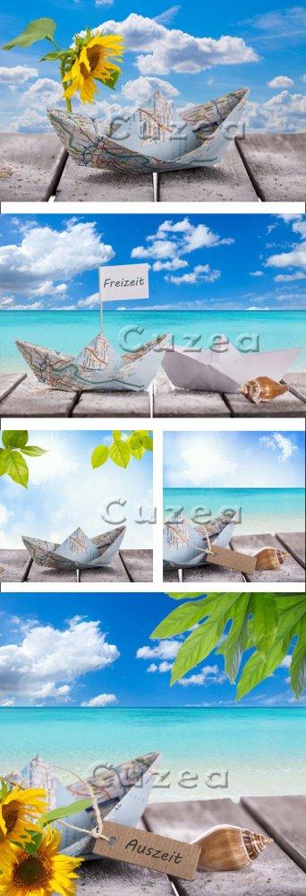 Морской пейзаж, ракушки и подсолнух/ Sea landscape, cockleshells and sunflo ...