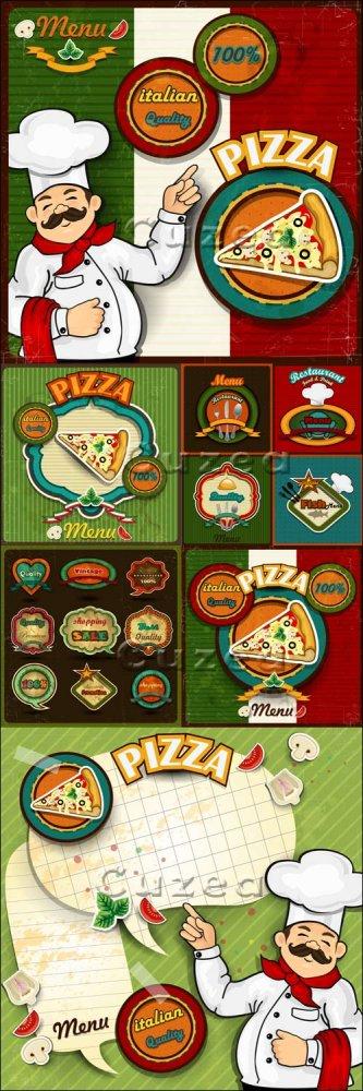 Шеф, меню и пицца - векторный клипарт/ Chef pizza menu paper in vector