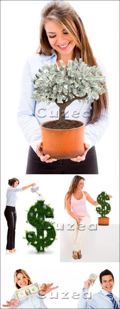 Креативный клипарт людей с деньгами/ People with money - Stock photo