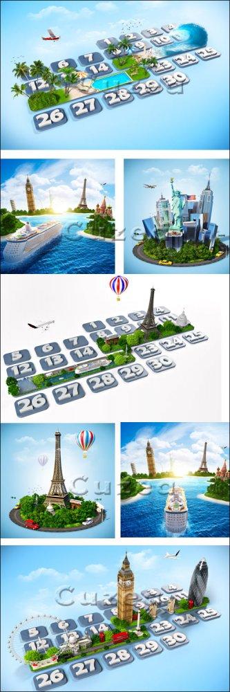Креативный клипарт на тему путешествий/ Travel creative part 2 - Stock phot ...