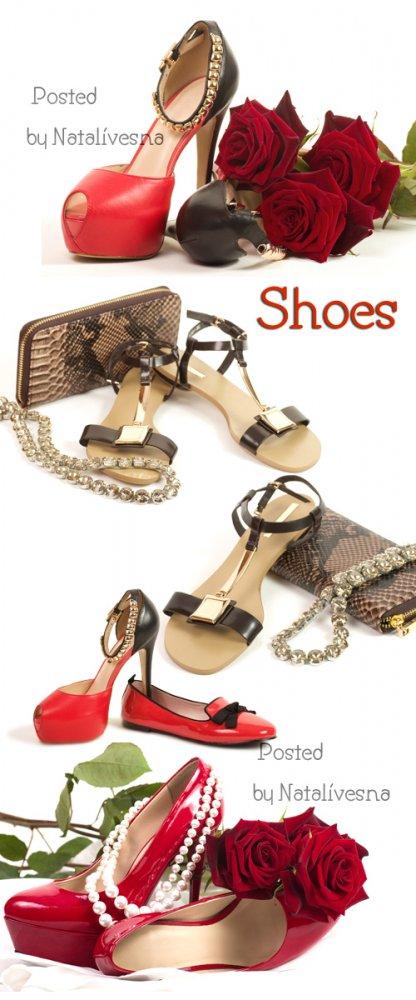 Туфли и цветы с сумочкой / Shoes and flowers with handbag - Stock photo