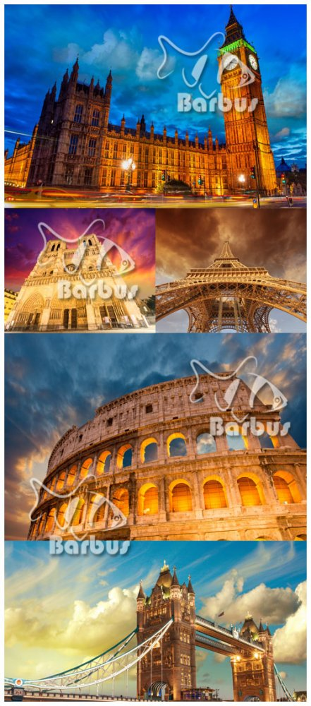 Notre Dame Cathedral, Colosseum, Big Ben Tower, The Tower Bridge, Eiffel To ...