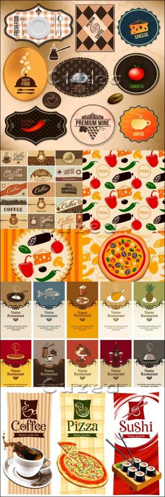 Винтажные меню для пиццерии и кофе стикера/  Vintage menu in vector for piz ...