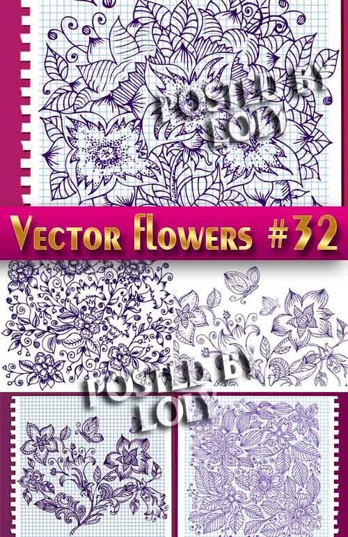Цветы в векторе #32 - Векторный клипарт