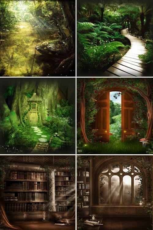 Лесная библиотека (набор детских фонов)