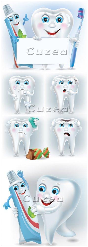 Рисованный зуб и зубная паста в векторе/ Funny tooth with toothpaste and to ...
