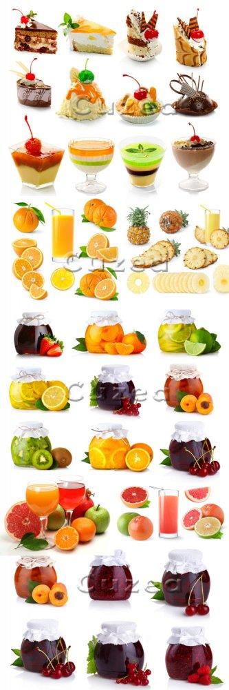 Пирожные, сок и баночки варенья/ Sweet cake, juice, jam and fruits - Stock  ...