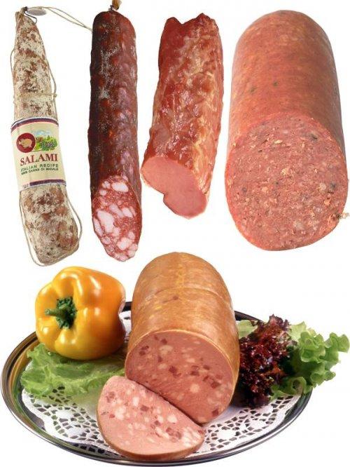 Колбасные изделия (колбаса копченая, вареная, салями, корейка и др.)