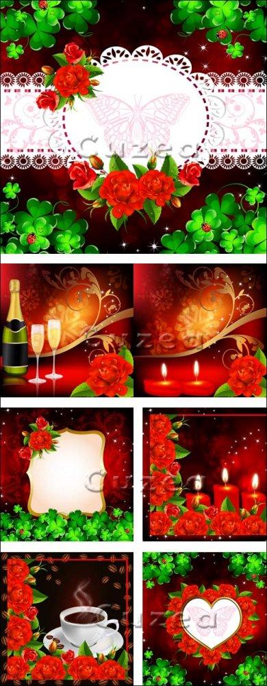 Свечи, шампанское и красные розы - векторный клипарт/ Candles, champagne an ...