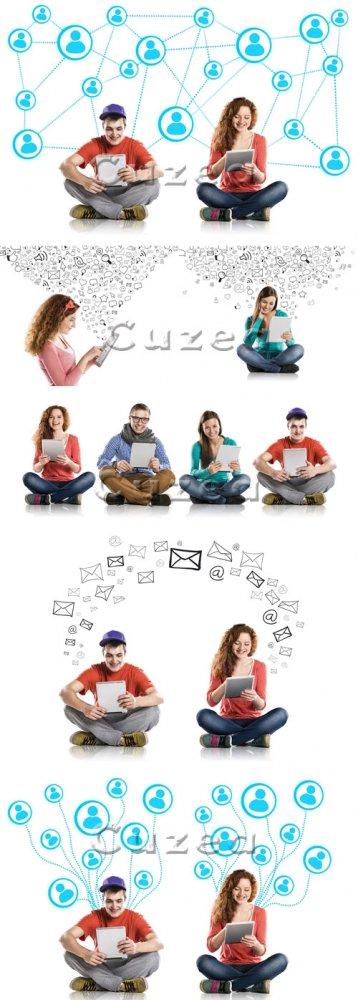 Молодые люди и социальные сети/ People and social network - Stock photo