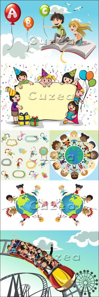 Детские праздники и каникулы - векторный клипарт/ Holidays and children res ...