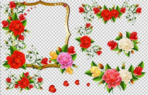 Клипарт - Розы с завитками узорами на прозрачном фоне