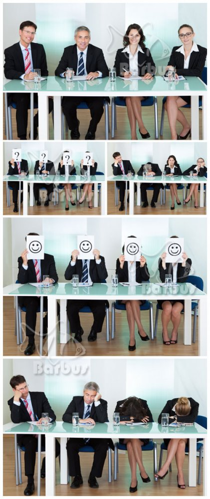 People in suits miss at a table / Люди в костюмах скучают за столом