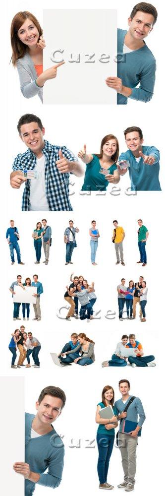Группа студентов на белом фоне/ Group of students on white backgrounds - St ...