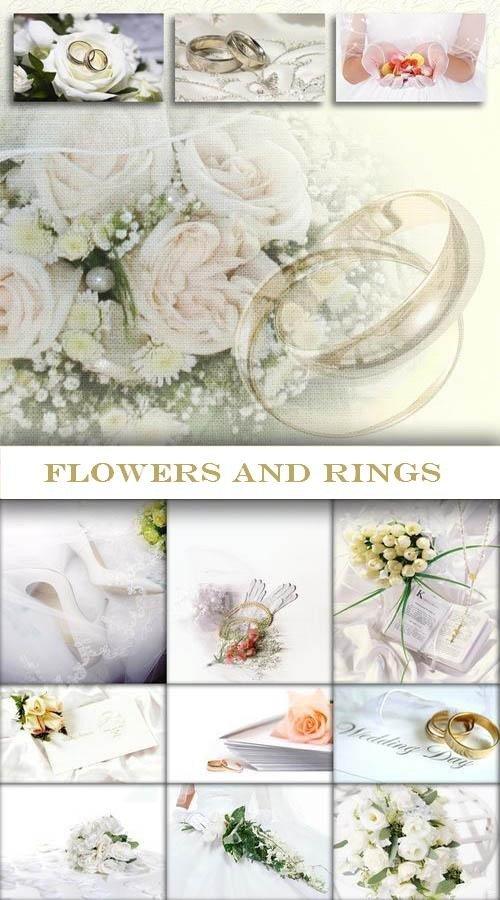 Цветы и кольца (коллекция свадебных фонов)