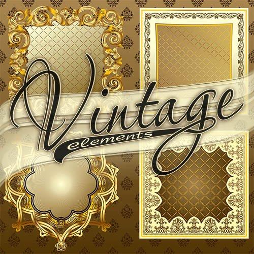 Векторные винтажные элементы для дизайна #1 / Vector vintage elements #1