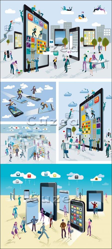 Социальные конструкции - векторный клипарт/ Social constructions - vector s ...