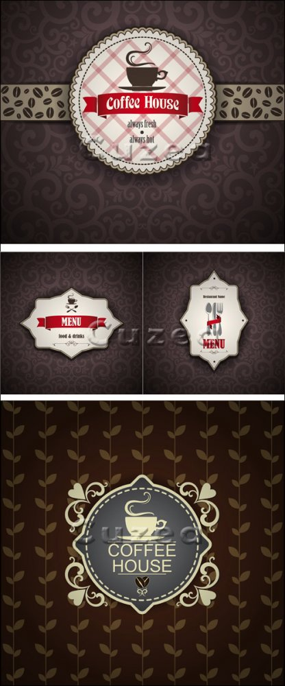 Винтажные меню для кофе бара/ Vintage Menu for cofee house - vector stock