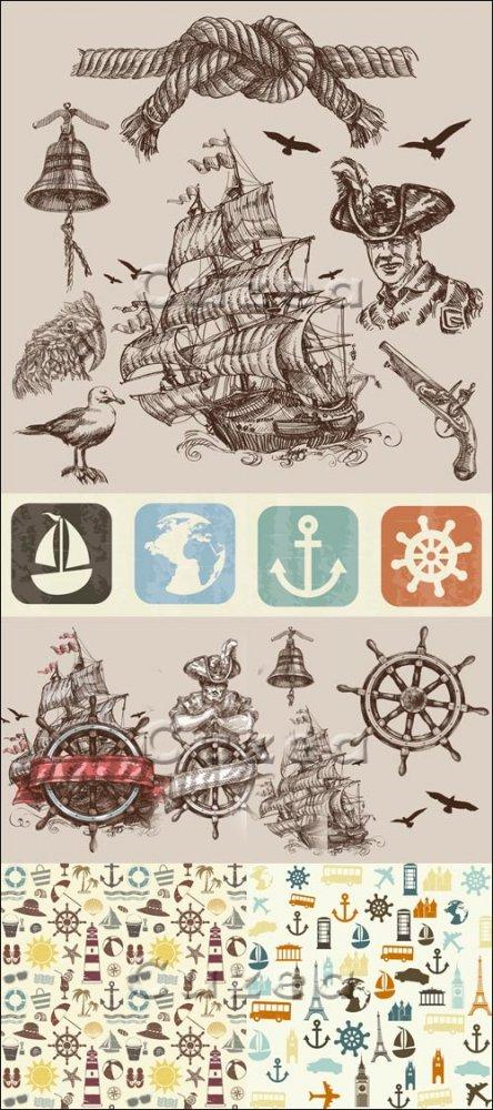 Старинный корабль и элементы путешествий/ Old ship and travel elements - ve ...
