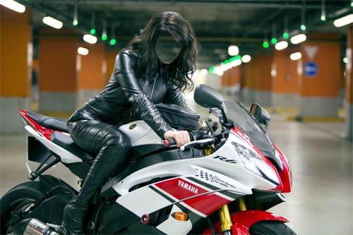 Женский шаблон - Девушка на дорогом мотоцикле в кожаном костюме