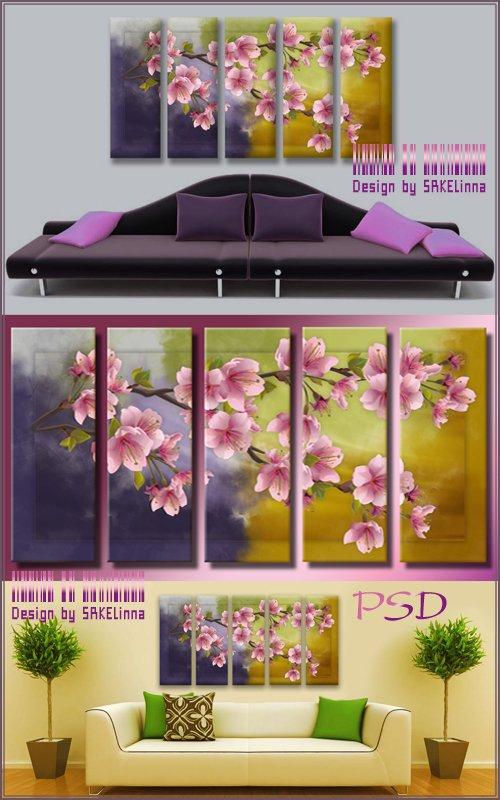 Модульная картина полиптих с имитацией мазков - Аромат сакуры