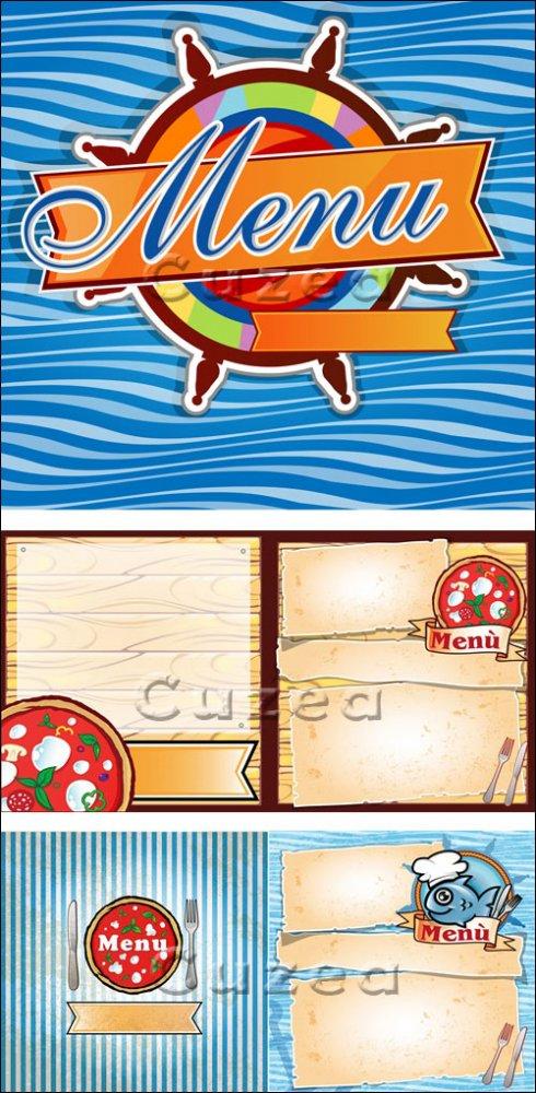 Векторные рыбные меню и меню для пиццы/ Vector fish menu and menu for pizza