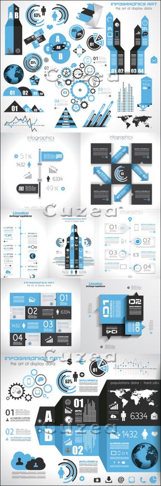 Элементы инфографики, часть 44/ Infographics design template with numeration and web elements, part 44 - vector stock