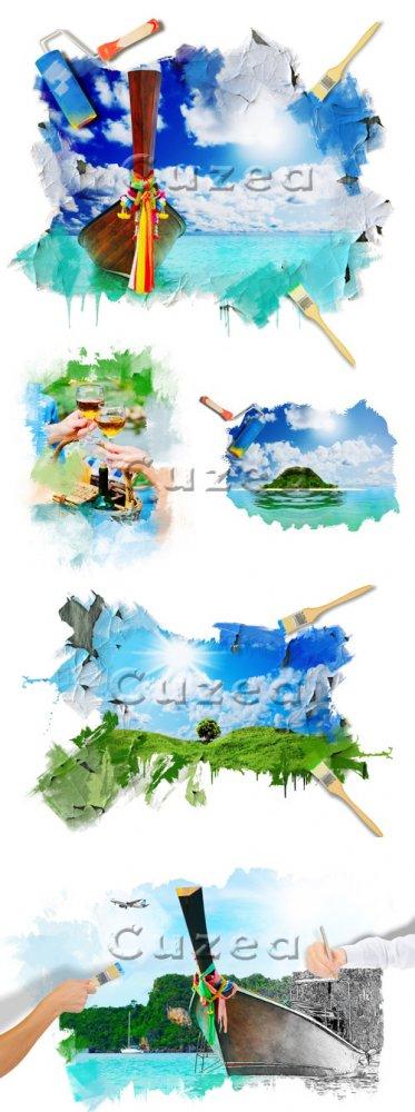 Креатиный клипарт путешествий/ Drow travel - Stock photo