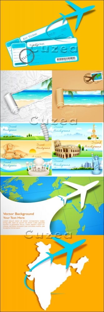 Путешествия самолётом, часть 3/ Travel by plane, part 3 - vector stock