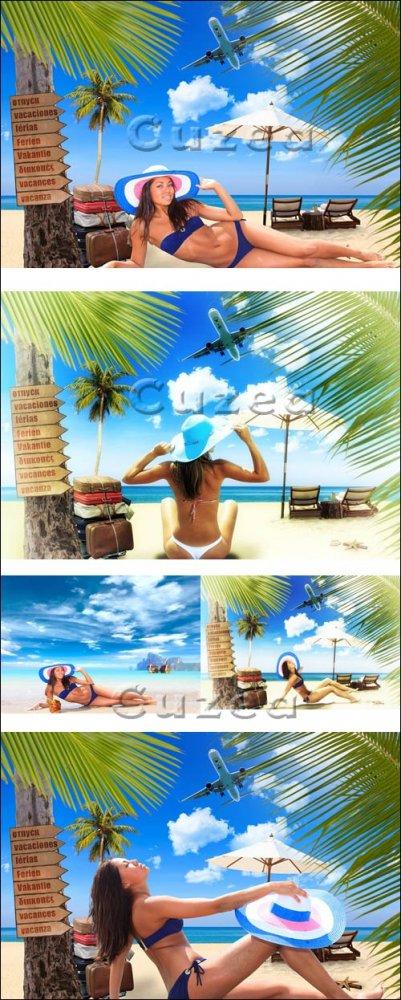 Молодая женщина на тропическом пляже/ Young woman on the beach - Stock phot ...