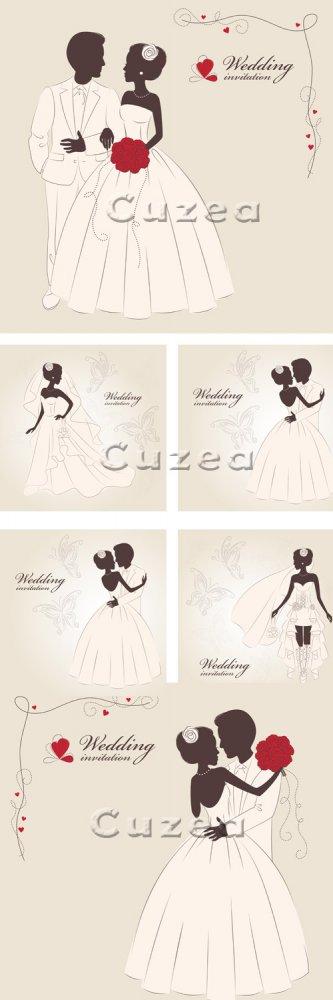 Свадебные приглашения, 12 / Wedding invitation, 12 - vector stock