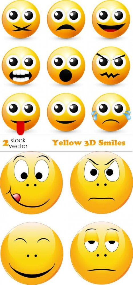 Vectors - Yellow 3D Smiles