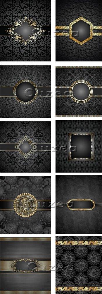 Темные векторные фоны с золотыми элементами / Black vintage backgrounds wit ...
