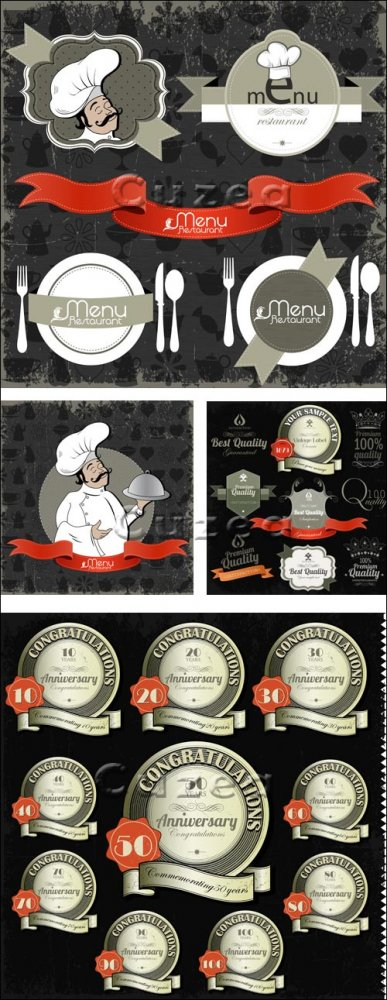 Шеф-повар и меню / Сhief cook and menu - vector stock
