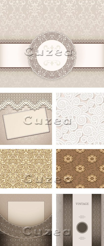 Винтажные светлые фоны, 12 / Vintage invitation background, 12 - vector stock