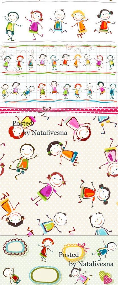 Детские фоны в Векторе с человечками / Children's backgrounds with little  ...