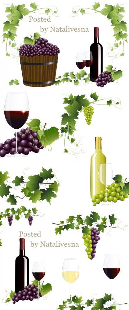 Виноградное вино и листья винограда в Векторе/ Grape wine and grapes leaves ...