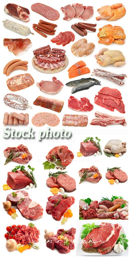 Свежее мясо, мясные продукты / Meat, meat products, sausage, chicken - Raster clipart