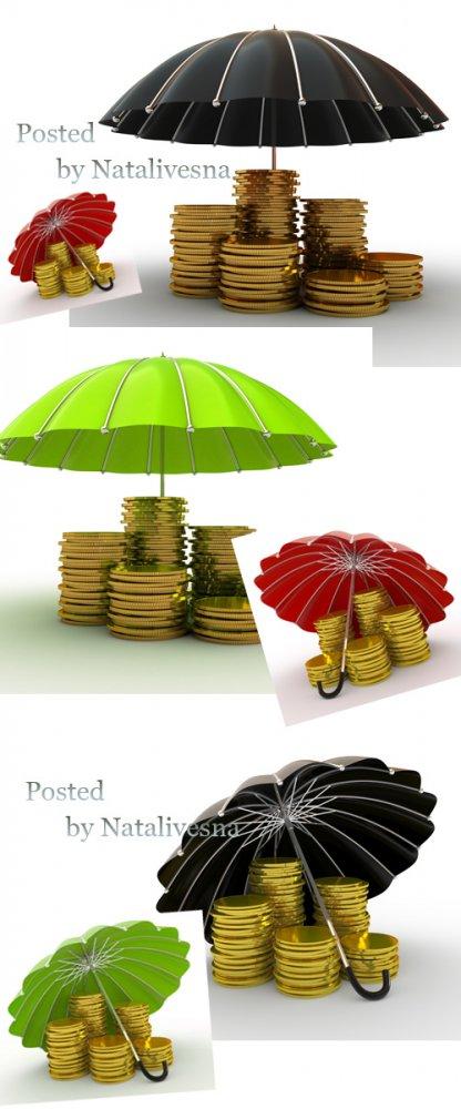 Зонтики и золотые монеты на белом фоне / Umbrellas and gold coins - Stock p ...