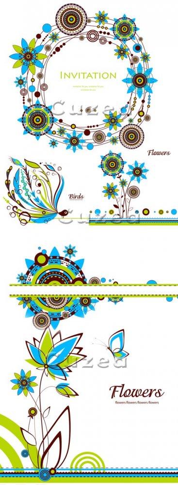 Винтажные цветочные векторные фоны / Vintage floral background in vector