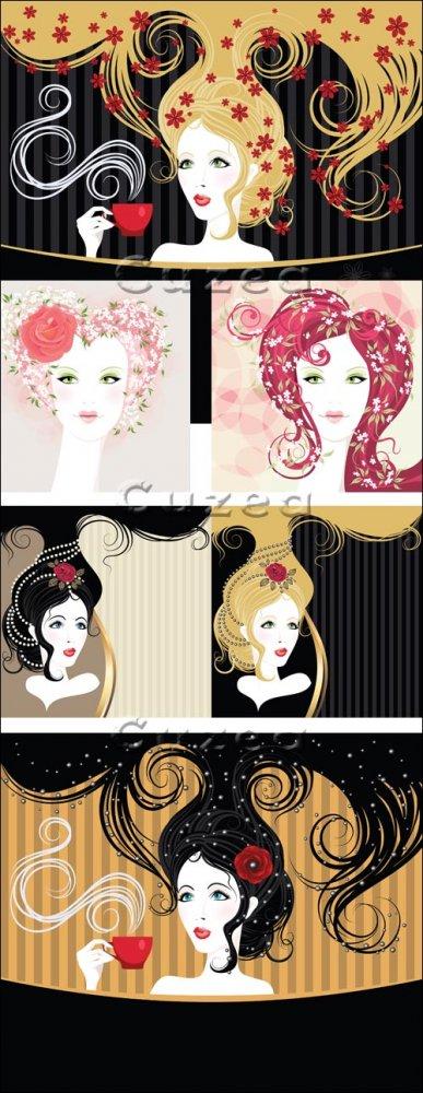 Женские лица на винтажных фонах в векторе / Girls on vintage background in  ...
