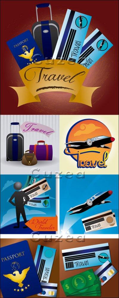 Векторные элементы на тему путешествий / Travel elements in vector