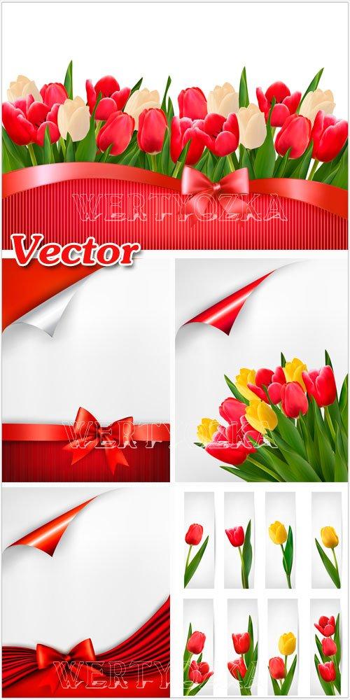 Векторные фоны с тюльпанами / Vector background with tulips